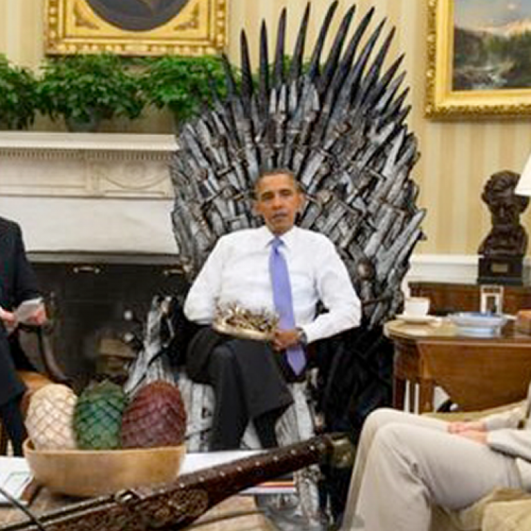 OBAMA GAME OF THRONES TAHTINA ÇIKTI