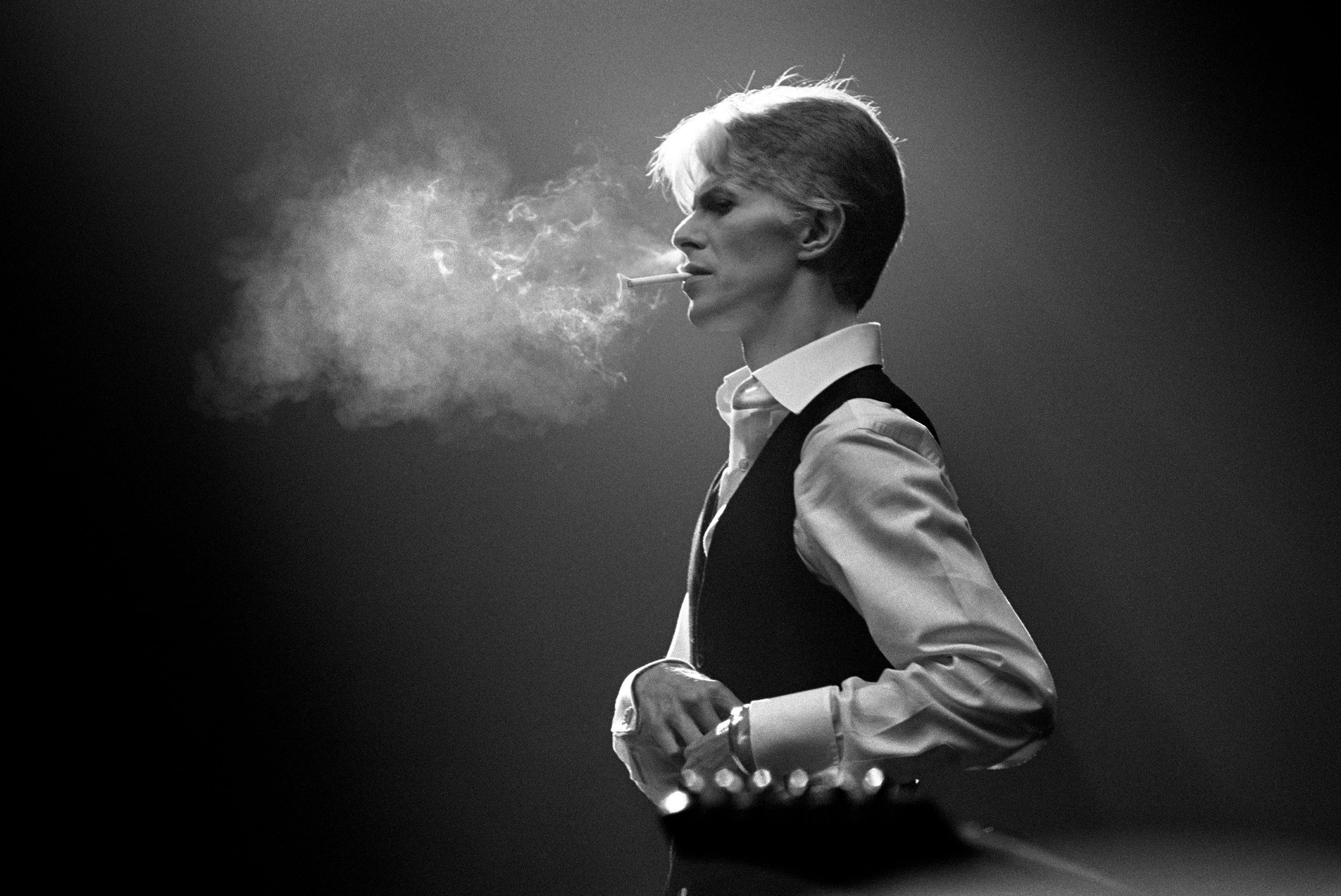Bowie's Thin White Duke persona, smoking a Gitanes cigarette, 1976.