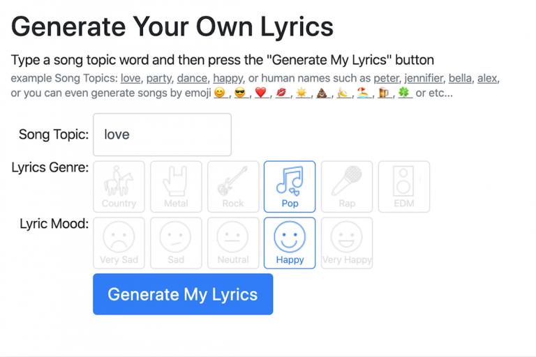 yapay zeka yardımıyla kendi şarkılarımızı yazıyoruz